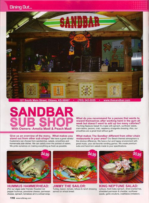 Sandbar Sub Shop KCFitness Mag oct nov 09